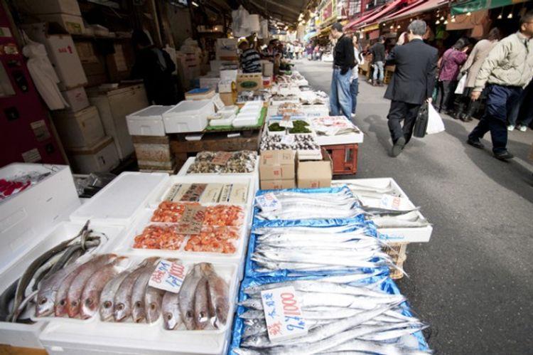 shotengai shopping street japan fish market tsukiji