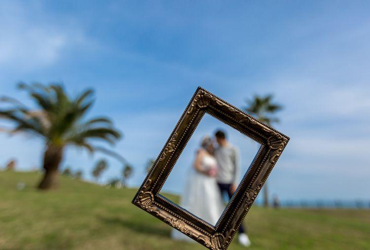 Wedding at the beach photo frame