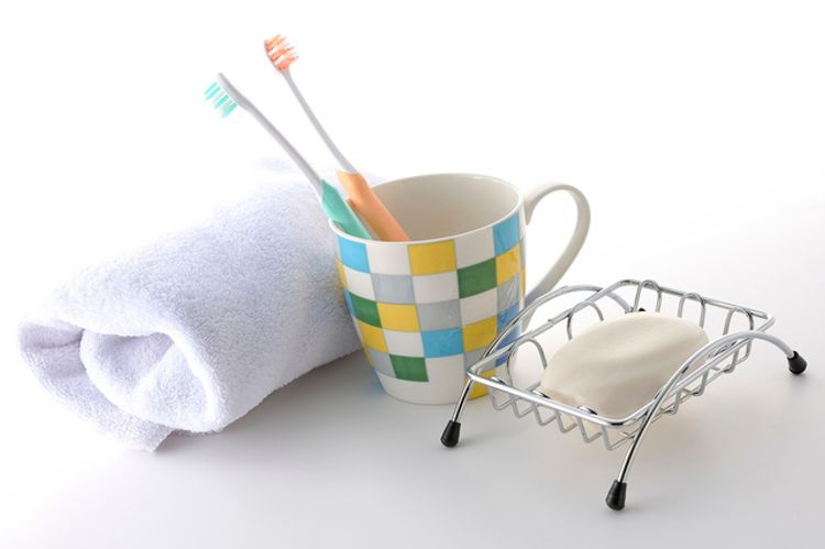 towel, toothbruch, and soap