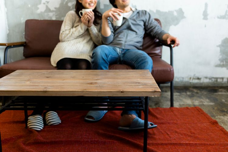 Japanese couple stay at home date