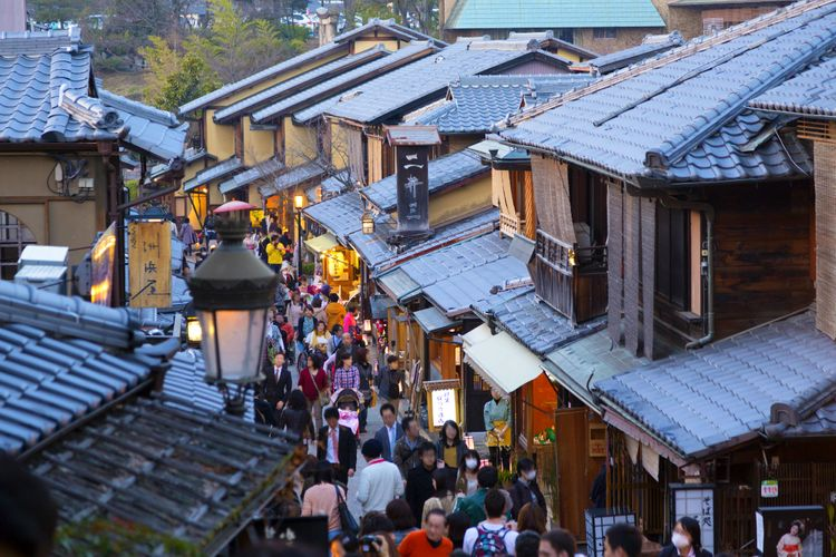 busy kyoto townscape