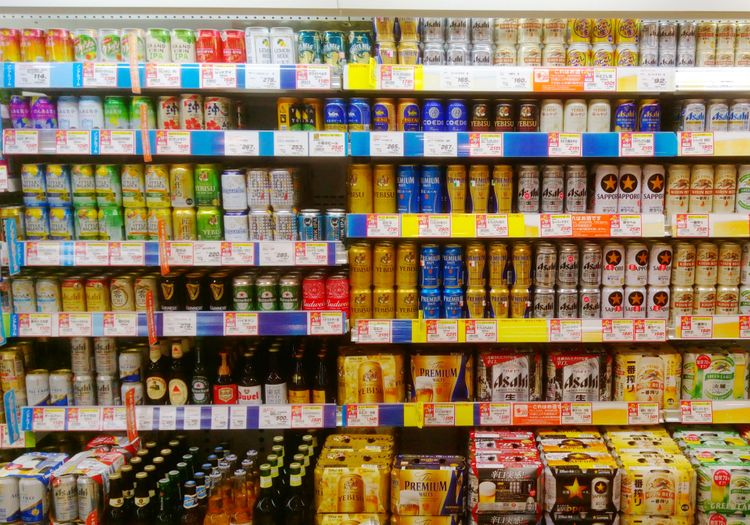 row of soft alcohol in the supermarket