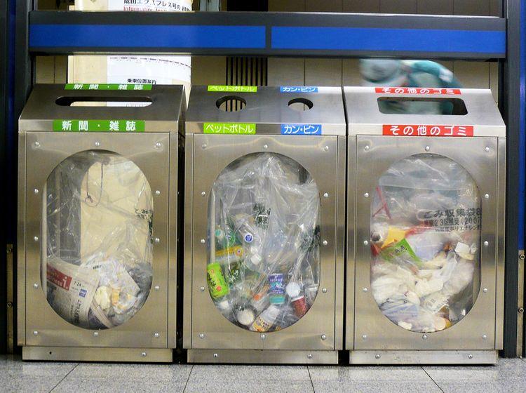subway trash cans