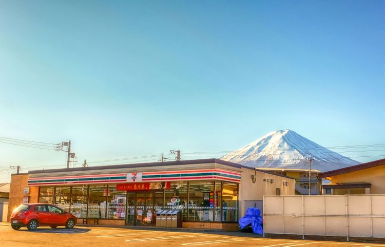 7-11 with mt fuji in the background