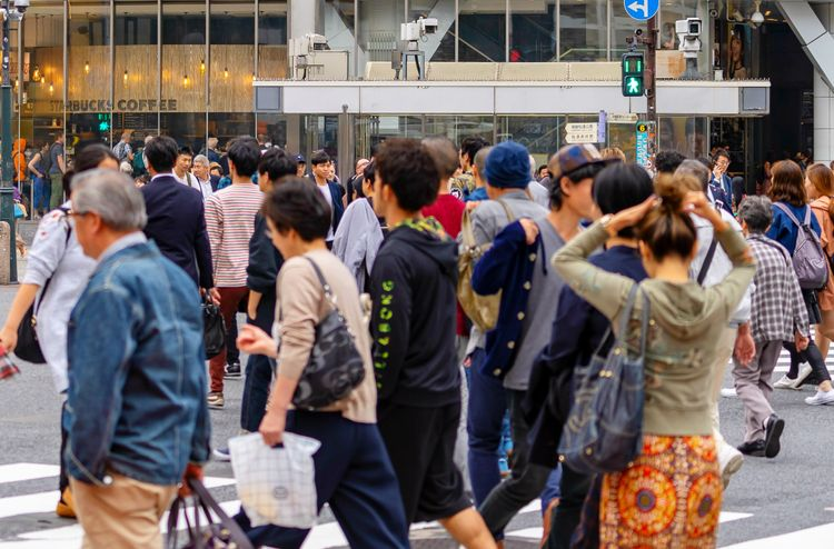 lots of people in busy tokyo