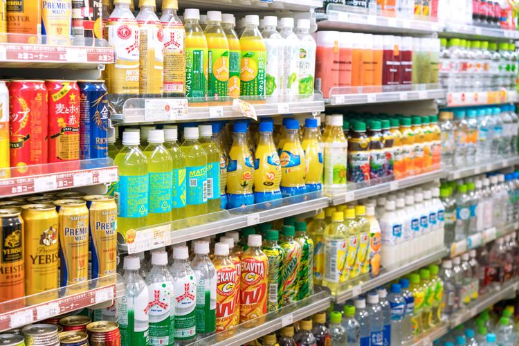 A drinks case at Japanese convenience store