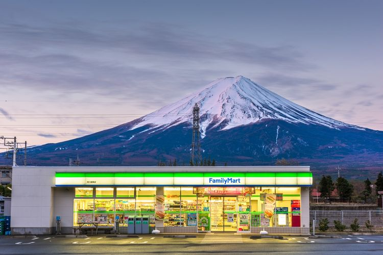 Family Mart store in front of Mt Fuji