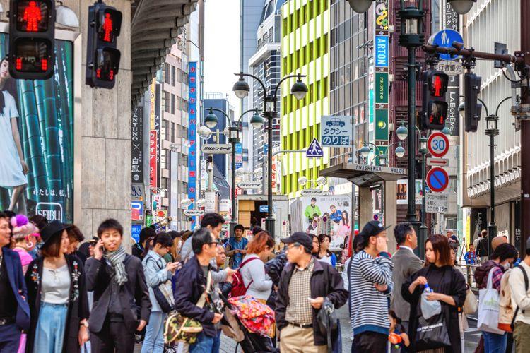 Crowded street in Shibuya