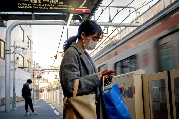 Waiting for a train in Tokyo