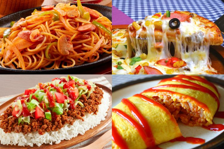 Foreign-style Japanese food: naporitan, pizza, taco rice, omurice