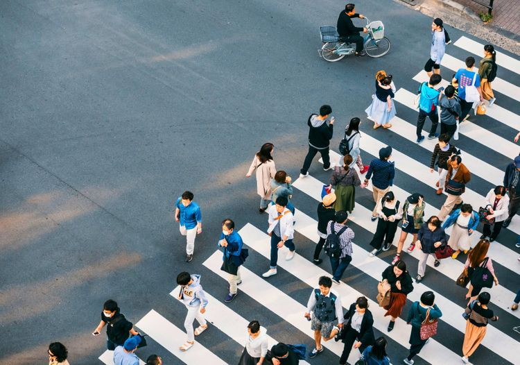 Crosswalk in Japanese  city