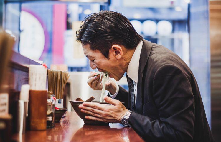 slurping somen at Japanese restaurant