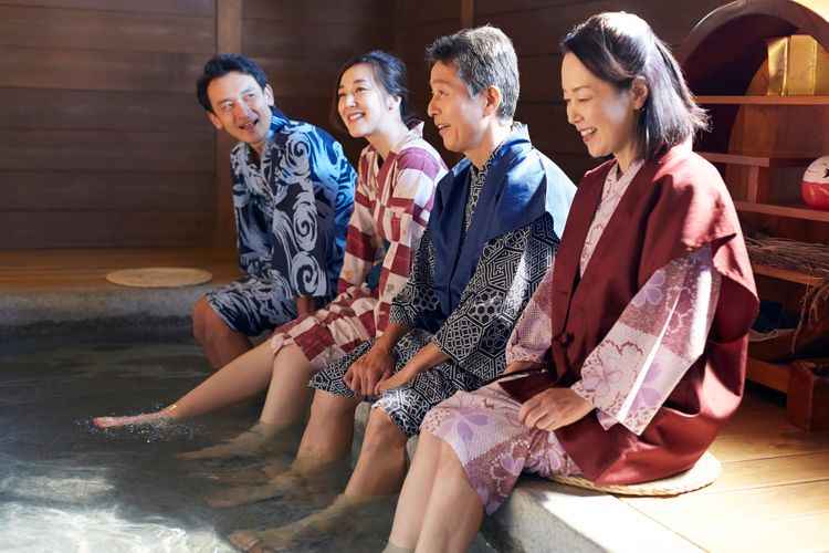 japanese people wearing yukata onsen hot spring