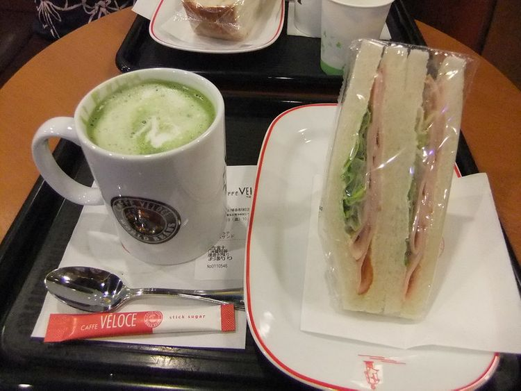 Caffe veloche matcha latte and sandwich
