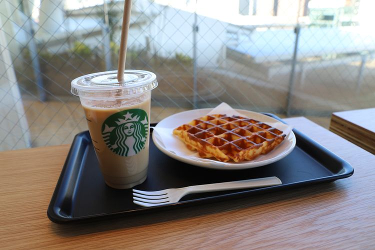 Starbucks coffee and waffle