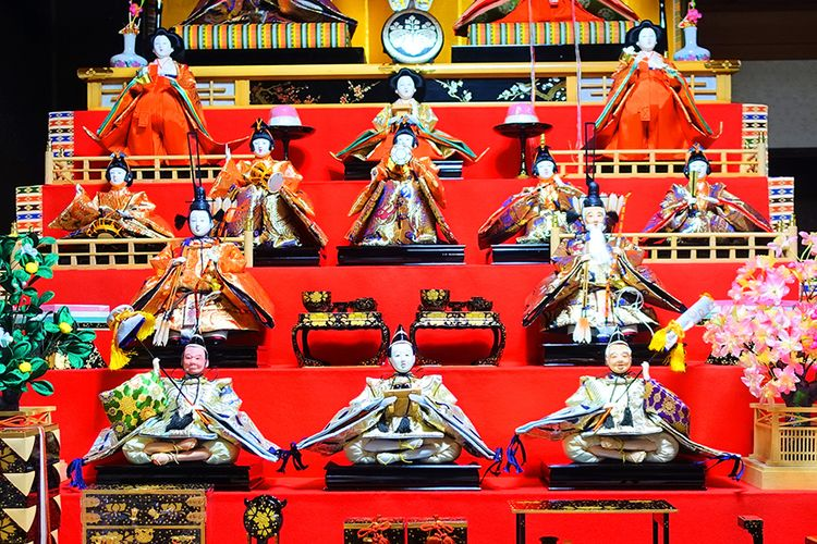 close up of the upper level of hina dolls