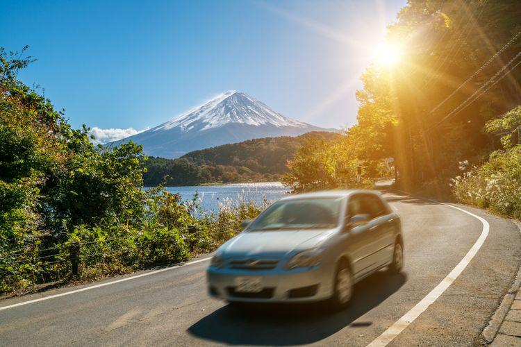 Mt. Fuji road with car