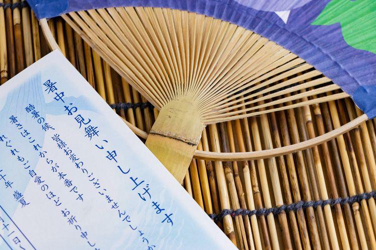日本扇子與暑中問候的小卡片