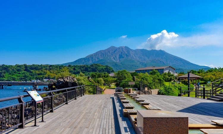 從熔岩海濱公園眺望櫻島的景緻
